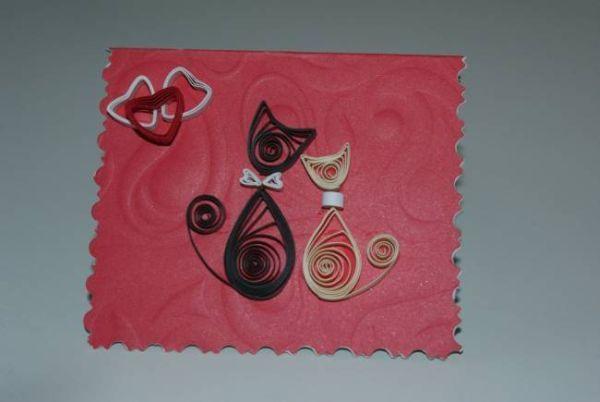 И хоть День Святого Валентина позади, можно просто так удивить своего любимого милой открыткой с двумя кисками.
