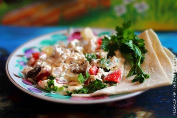 салат из грибов ананасов и курицы рецепт с фото