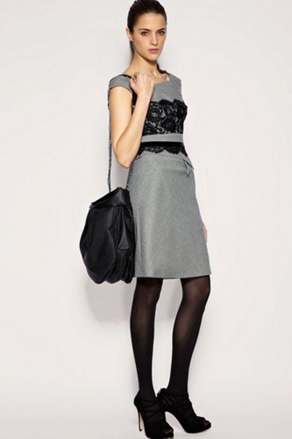 Кружево сейчас в моде, а на этом платье оно смотрится как нельзя кстати. Но я бы подобрала к этому наряду более элегантную сумочку.