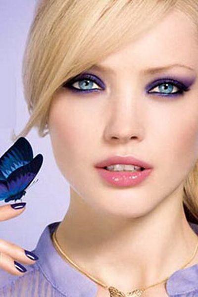 Вечерний макияж для голубых глаз.