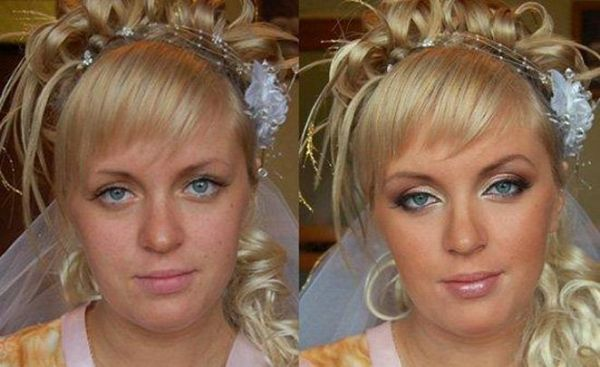 До и после макияж:
