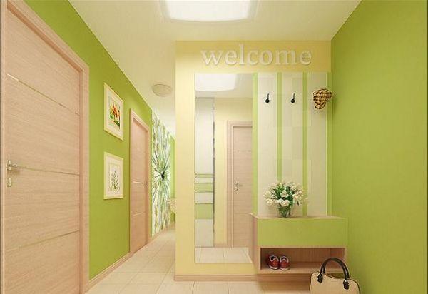 Прихожая в зеленом цвете дизайн