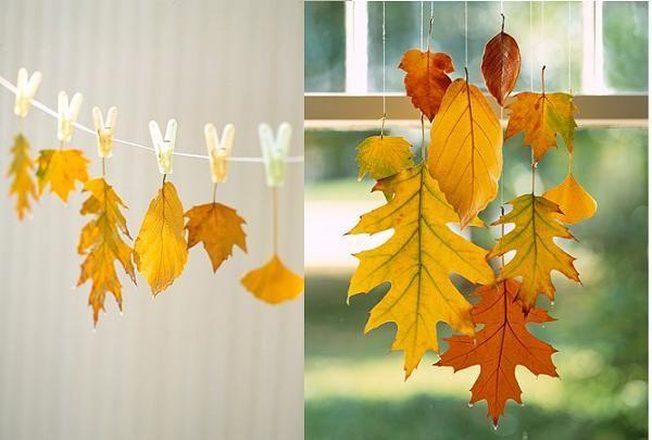 С помощью обычных бельевых прищепок или лески можно придумать гирлянду для настоящего осеннего праздника.