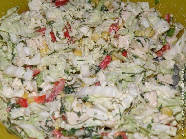 Салат с курицей и пекинской капустой рецепт с пошагово