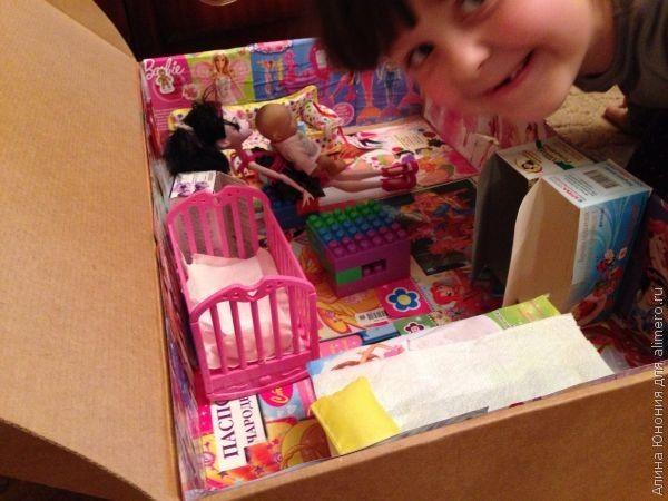 Как мы сделали из коробки домик для кукол