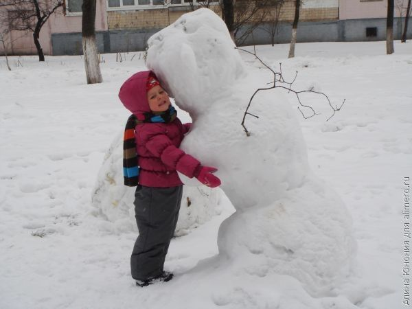 ребенок снеговик