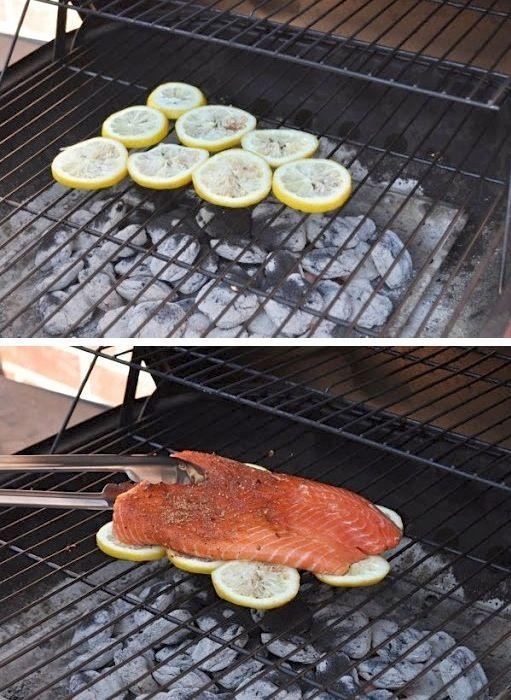 Оригинальный способ разнообразить приготовление рыбы на решетке-гриль - сделать для нее лимонную подушку.