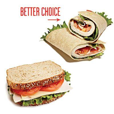 Если в бутерброде заменить обычный хлеб (или батон) на тонкие листы лаваша, то организм получит примерно на 100ккал меньше.