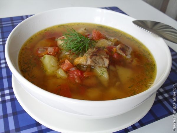 суп с свининой и фасолью рецепт с фото