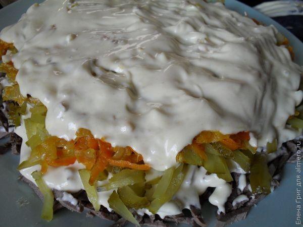 слоеный салат из свинины рецепты с фото