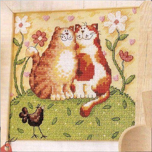 Вышивка крестом коты. 1 из 15