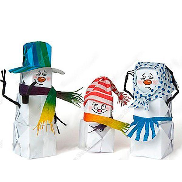 Снеговик на бумаге своими руками