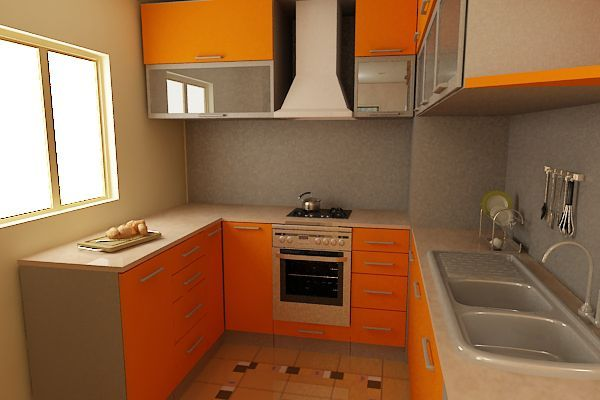 Кроме классических вариантов штор, оранжевая кухня прекрасно поддерживает и рольшторы. Это нестандартный вариант оформления, поэтому они могут стать отличным дополнением кухонного интерьера.