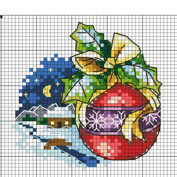 Вышивка с изображением елочного шара подойдет для оформления новогодней салфетки или скатерти.