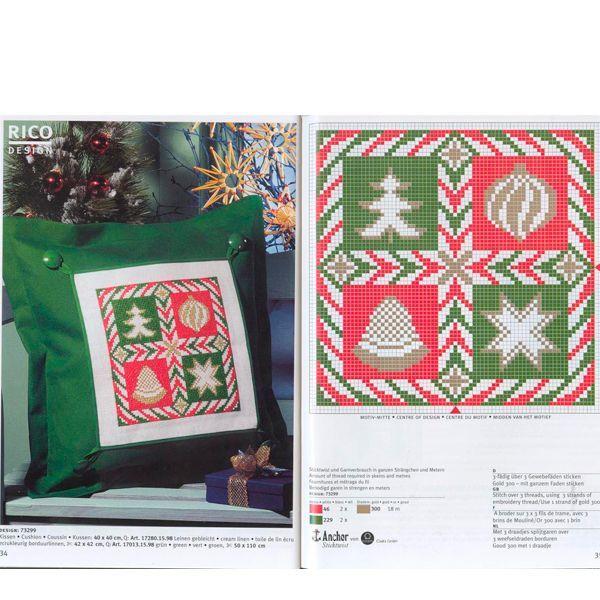 Родственникам и друзьям обязательно понравится подарок в виде подушки с вышивкой на новогоднюю тематику. Цвет и мотив можно подобрать по своему вкусу.