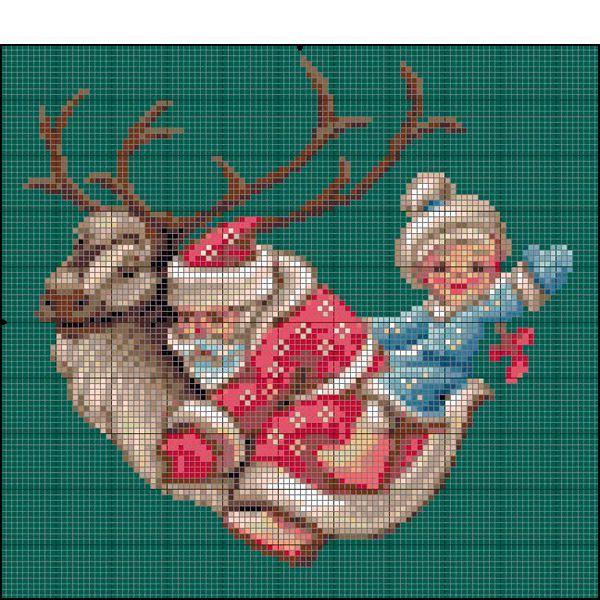 Дед Мороз со Снегурочкой верхом на олене - довольно необычный сюжет для новогодней вышивки. Думаю, что он никого не оставит равнодушным.