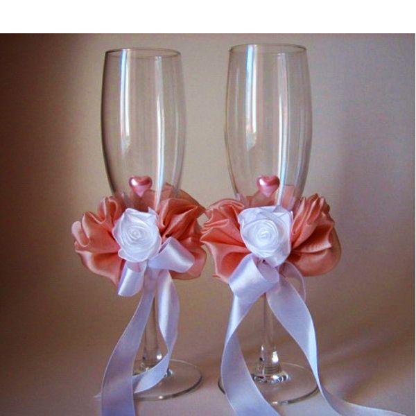 Свадебное украшение бокалов фото