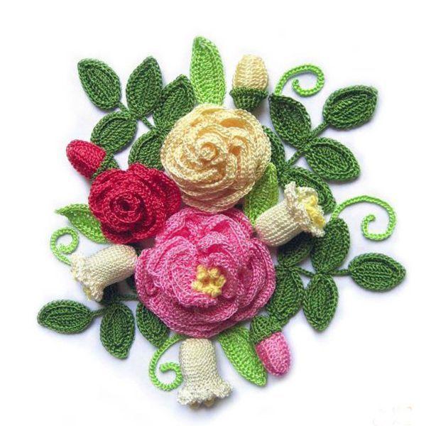 Вязаные картины из цветов крючком схемы и описания