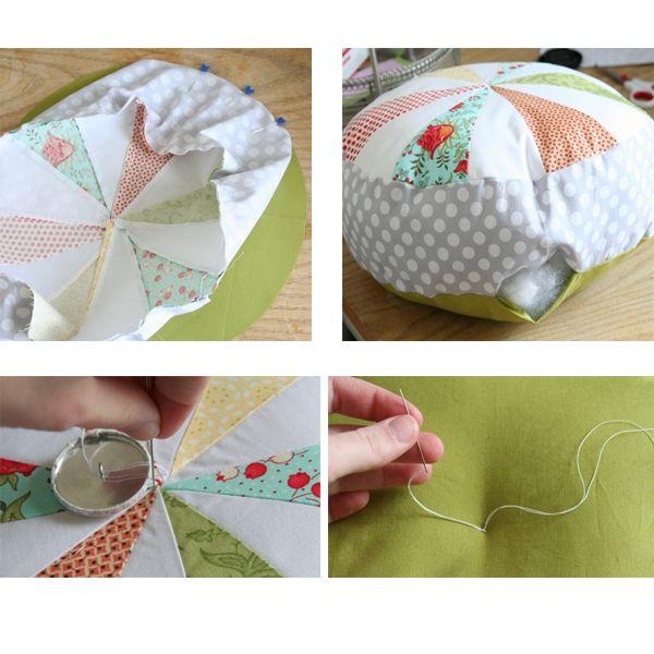 Далее, нужно вырезать полоску ткани, длина которой совпадала бы с периметром круга, а ширина – соответствовала желаемой высоте вашей будущей подушки. Не забывайте добавлять по 0.5 см на швы с каждой стороны.