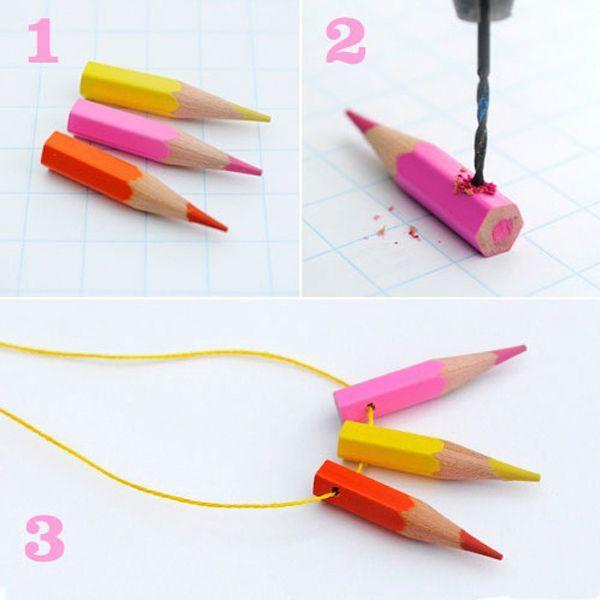 Нам понадобится для изготовления подвески: несколько ярких карандашей (подойдут и их остатки), точилка для карандашей, шнурочек.