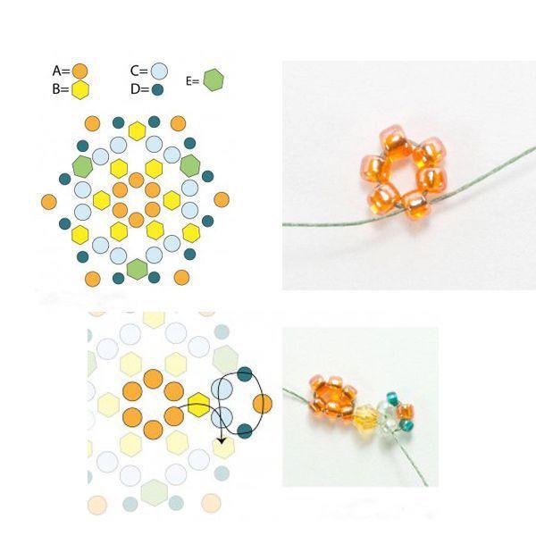 Подготовьте необходимые материалы. Для работы вам понадобятся:   круглый оранжевый бисер (24 размера 11/0 Miyuki) (А).  18 штук кристаллического ярко-желтого бисера диаметром 2 мм (B); светло-зеленый бисер (24 размера 11/0 Miyuki) круглой формы ©; бирюзовый бисер (24 размера 15/0 Miyuki) круглой формы (D) шесть 3-миллиметровых оливковых кристаллов bicone (E).