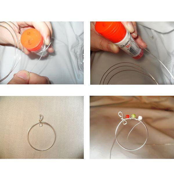 Чтобы получить ровное колечко, необходимо взять предмет цилиндрической формы и плотно обернуть проволоку вокруг него. Закрепить так, как показано на фото.
