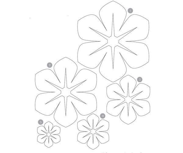 Первым делом, распечатайте на бумаге выкройку, расположенную выше. На ней изображены цветы пяти размеров, поэтому вы сможете подобрать именно такой, который будет вам впору.