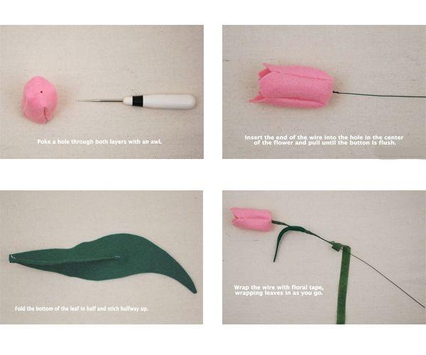 Чтобы тюльпан держал форму, необходимо закрепить пуговицу к краю проволоки (стебля). Пуговица должна быть чуть меньшего диаметра, чем диаметр цветка.