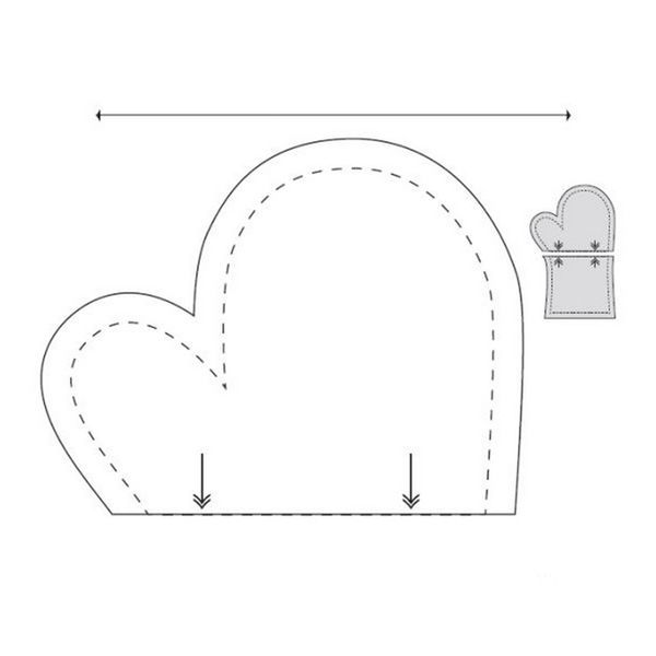 Выкроить рукавицу прихватку можно без лекала и выкройки, используя только свою ладонь. Можно использовать эту выкройку.