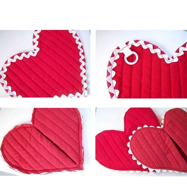 Теперь возьмите одну половину фетрового сердца и оберните ее одним из сердец ткани основного цвета. Закрепите по краям булавками, чтобы слои не сдвигались. Повторите для второй половинки сердца.