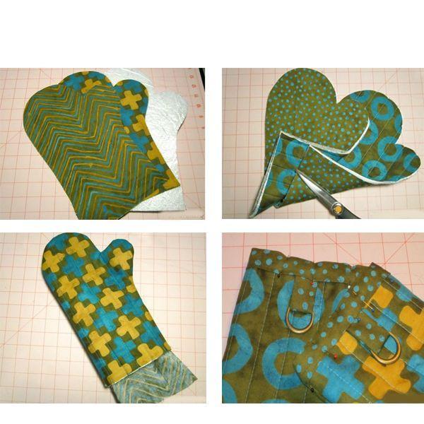 И соответственно две детали понадобятся для изготовления внутренней части рукавицы, а две для наружней. Между ними будет ватин. Его надо выкроить такой же формы — 2 шт.
