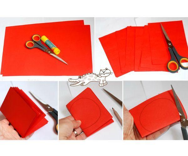 Вам понадобится плотная цветная и белая бумага, а также клей-карандаш, ножницы, черный фломастер.