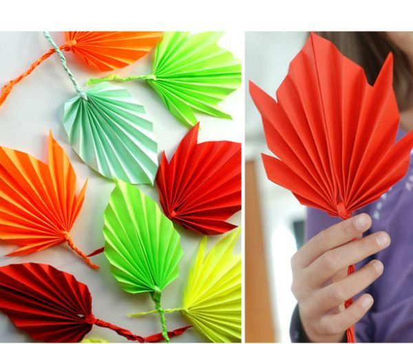 Такие листочки из цветной бумаги делаются очень просто, а смотрятся эффектно благодаря объему. Дети с удовольствием примут участие в их изготовлении!