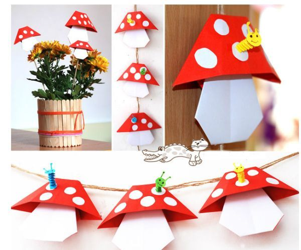 Такие грибочки сделаны в технике оригами. На каждый грибочек можно приклеить забавного червячка.