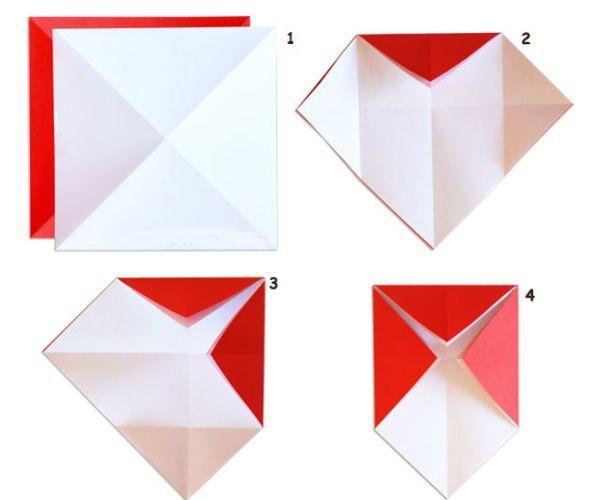 Для работы вам понадобится плотная бумага красного и белых цветов, а также ножницы. Обратите внимания, что бумага должна быть одинаковой плотности.