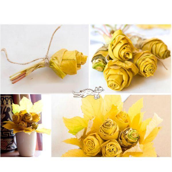 Из разноцветной листвы клена могут получиться оригинальные розы для осеннего букета. Это очень простая поделка. Розы делать лучше из опавших, но не сухих листьев.