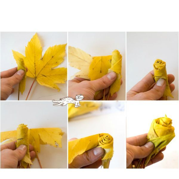 Вам потребуются:  крупные кленовые листья разных цветов; нити для фиксации цветков. Из готовых роз можно сделать самостоятельный букет или включить цветы в сборную осеннюю композицию.