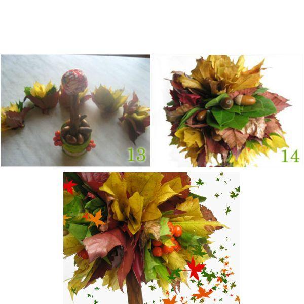 Небольшой совет - побрызгайте готовое деревце лаком для волос, особенно на ягодки и желуди, они станут ярче и будут блестеть. Вот дерево и готово, только не забывайте, что оно недолговечно, так как осенняя листва очень быстро сохнет.