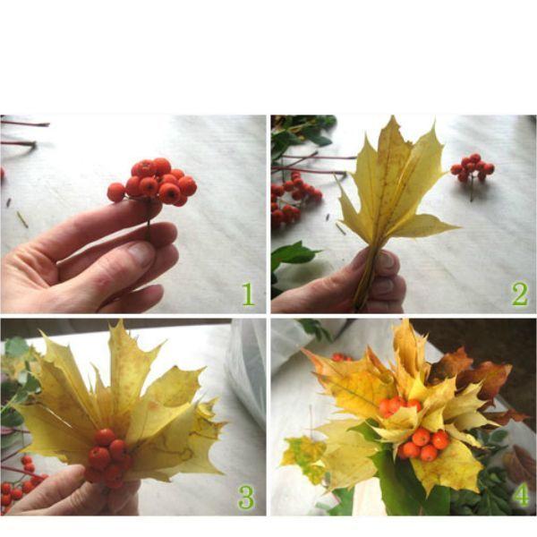 За основу лучше брать желтые кленовые листья, их соберите побольше. Так же можно собрать желуди, красивые веточки, палочки, ягоды и т.д. Не забудьте про рябину.