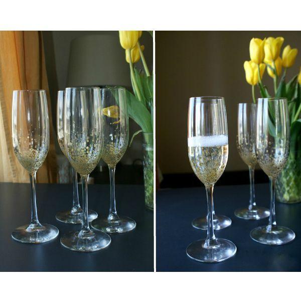 С помощью маленькой кисточки и краски по стеклу можно добавить шампанскому золотистых пузырьков. В этом случае стекло нужно будет предварительно обезжирить.