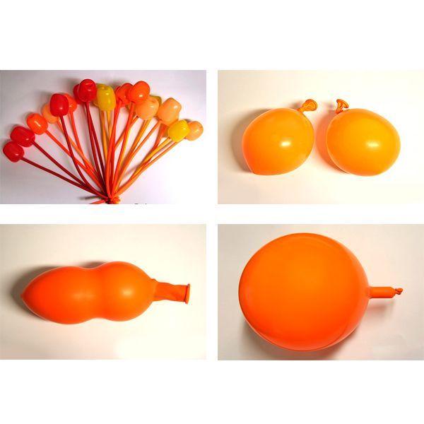 Другой рукой поверните несколько раз (5-7 полных кругов) часть шара с воздухом вокруг узла и ненадутого кончика шарика так, чтобы шарик стал похожим на бутон тюльпана и стебель. Создайте 20 тюльпанов из всех приготовленных воздушных шаров для моделирования.