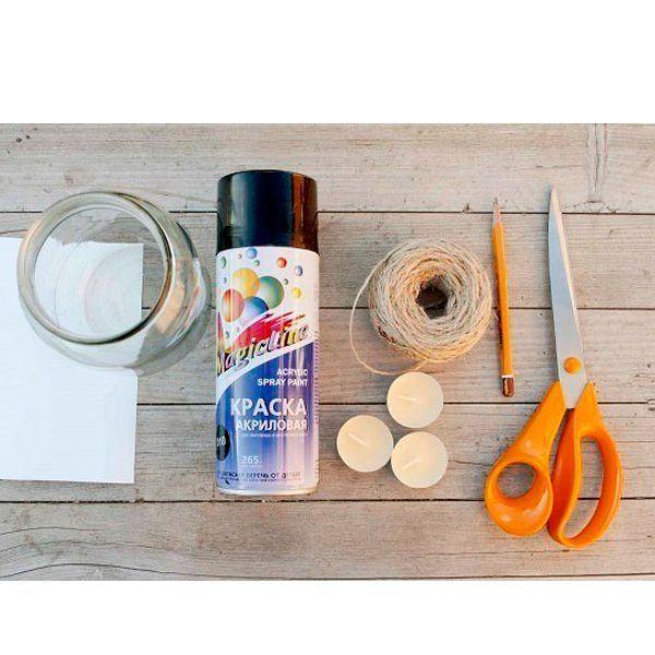 Для работы понадобится: акриловая краска коричневого цвета, свечи-таблетки, банка, лист бумаги, карандаш, ножницы, клей.