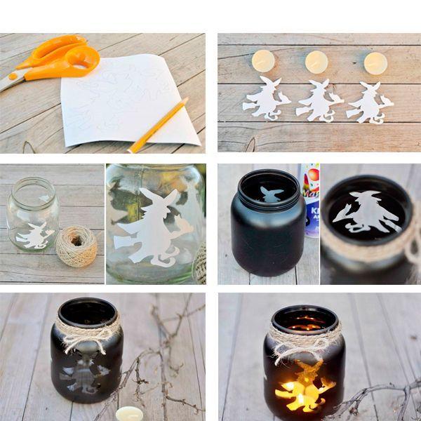 Эти подсвечники украшены изображениями ведьмочек. Вы можете заменить их на любые другие.