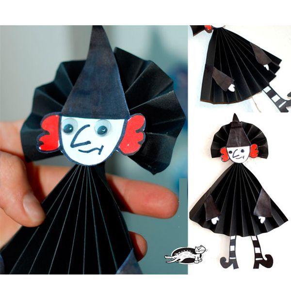 Такую очаровательную ведьмочку с удовольствием сделает ребенок. Можно украсить ею, к примеру, люстру.