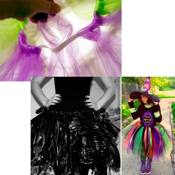 Эту юбку даже не нужно шить! Длинные цветные и черные лоскуты сетки просто привязывают к резинке. Бюджетная альтернатива — юбка из пакетов — часто смотрится ничуть не хуже.