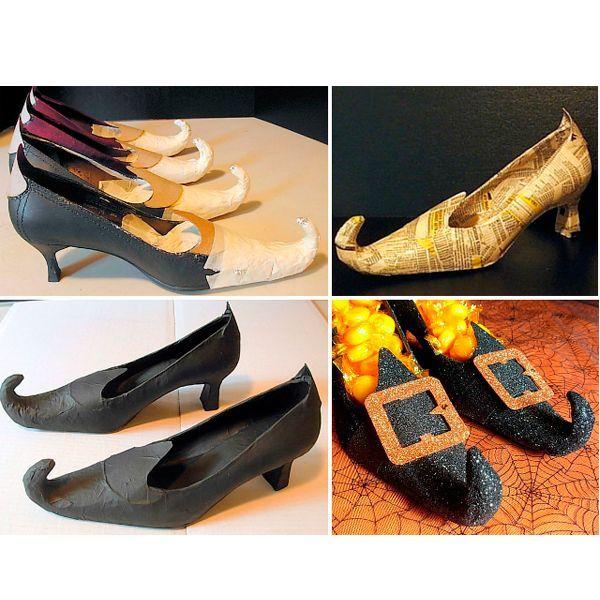 Смоделируйте острый нос с помощью малярного скотча и фольги. Надежно закрепите его на туфлях. Обклейте туфли газетой или загрунтуйте слоем краски. Нанесите краской-аэрозолем финальный слой. Когда туфли высохнут, обмажьте их клеем ПВА и обсыпьте блестками-глиттером.