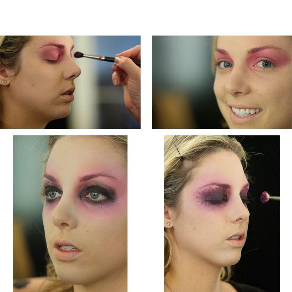 Для начала необходимо выровнять тон лица. Можно сделать его неестественно светлым. Тени лучше использовать яркие. В этом варианте - розовые и сиреневые.