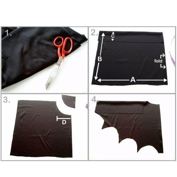 Сложите отрез ткани так, как показано на фото. Прежде, чем брать в руки ножницы, нанесите на ткань разметку, используя мел или мыло.