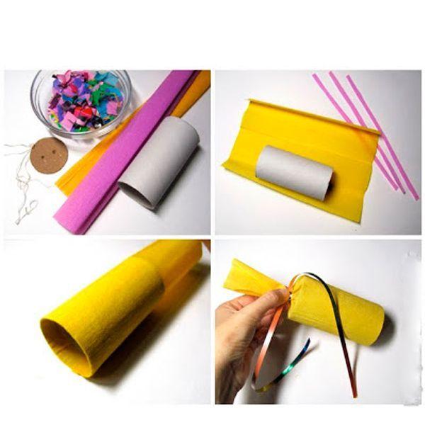 Можно сделать шляпку большого размера и мини-хлопушки, заполненные конфетти. На утреннике такой реквизит будет смотреться очень эффектно. Можно использовать для маленькой хлопушки бобину от туалетной бумаги.