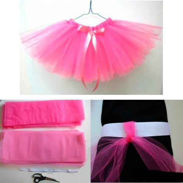 Такая пышная юбка из фатина может стать элементом костюма Дюймовочки или Снежинки. Вам понадобится разрезать фатин на длинные ленты и поочередно завязать их на широкой резинке.